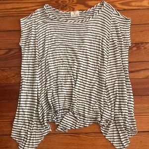 Black and white striped flowy t shirt